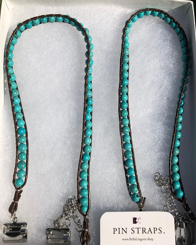 "(swipe left). One of our NEW Unique #PinStraps Styles: ""Turquoise Beads Leather Bra Dress Straps"". They can be seen and purchased on our Etsy Store (""PinStraps""). All of our Straps have our exclusive Pin Latch Hooks that allow you to attach any one of our straps to all of your outfits and bras instantly without needing to sew! Personalize your style even further and increase bust support in seconds!"