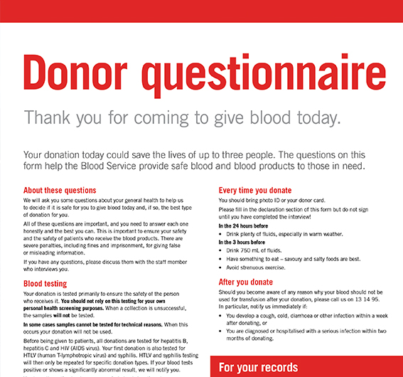 400 Pages - Guidelines for the Selection of Blood Donors  Australian Red Cross Blood Service
