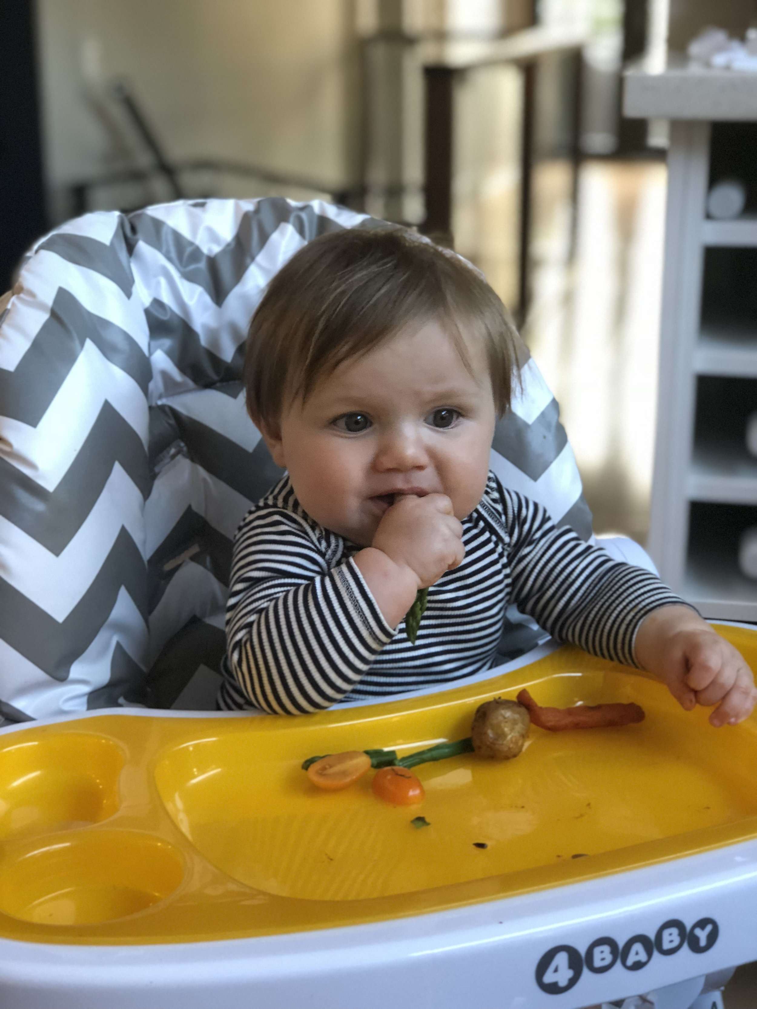Hunter enjoying roasted vegetables coated in turmeric, cumin and paprika