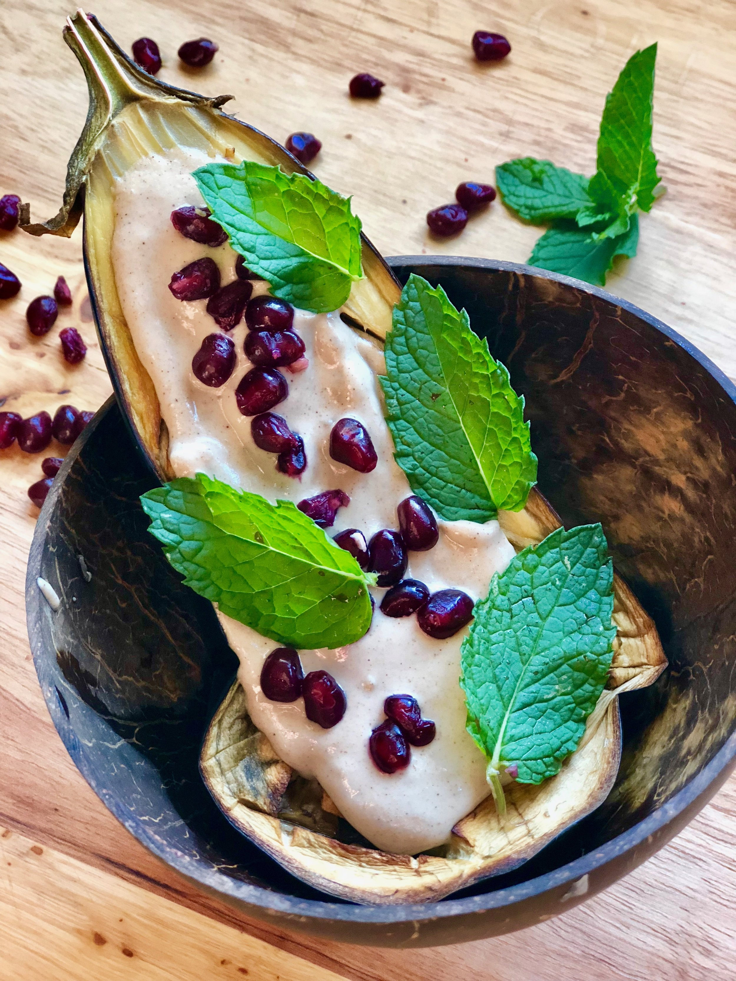 Eggplant & Pomegranate Boats