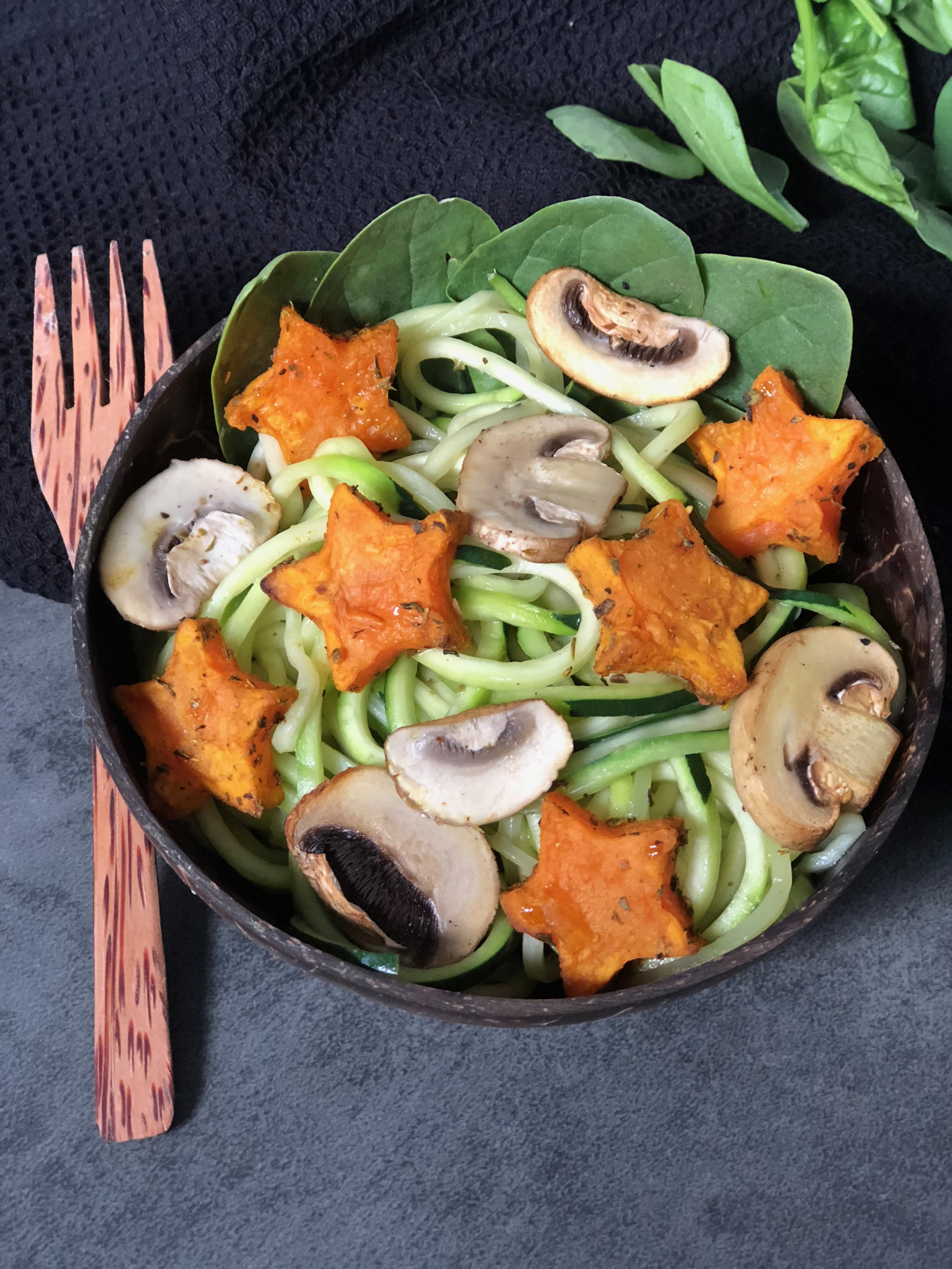 Zoodles with Sweet Potato Flowers & Baked Mushrooms