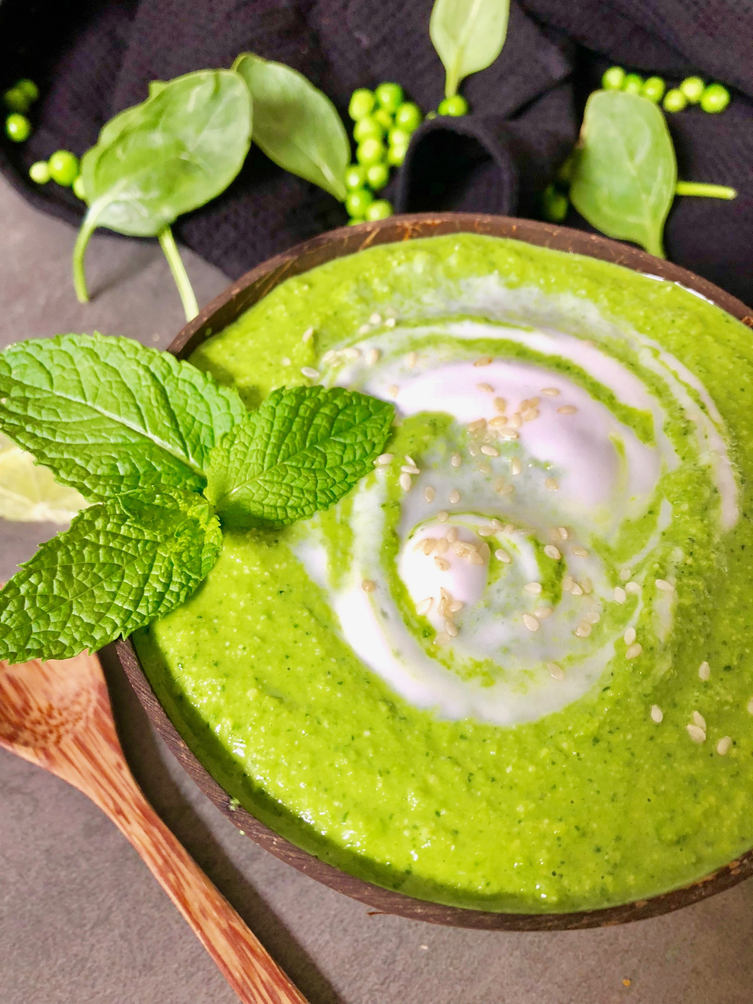 Chilled Lime, Pea & Spinach Soup