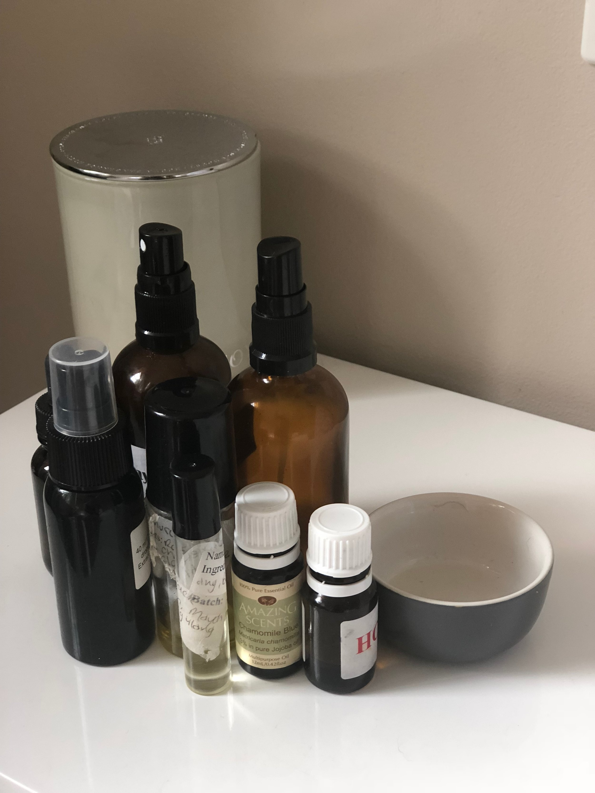 At any given moment you will find sprays, roll ons, droppers and rubs on my bedside table. You never what you'll need at 3 in the morning!