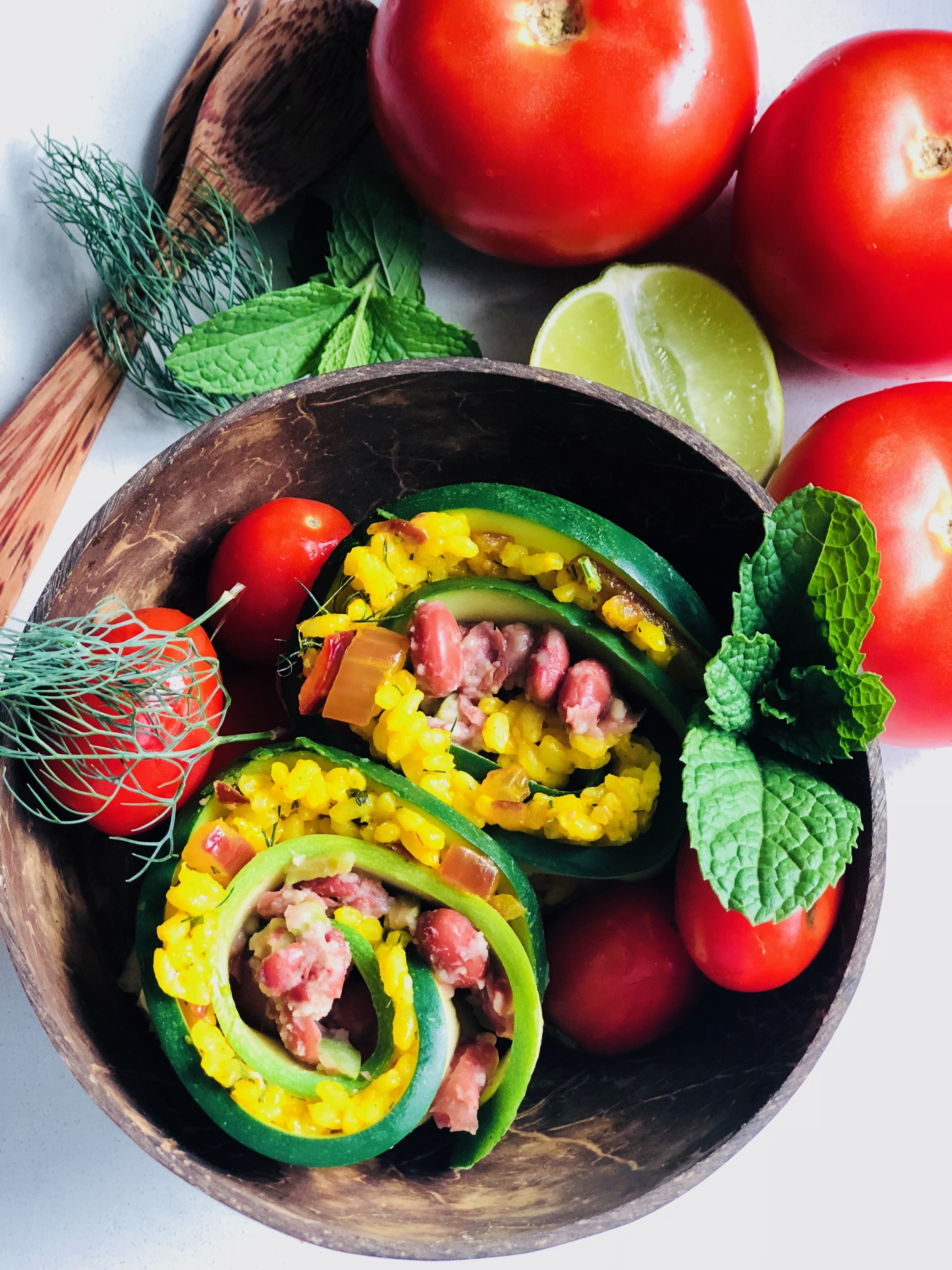 Zucchini Rice Rolls with Beans