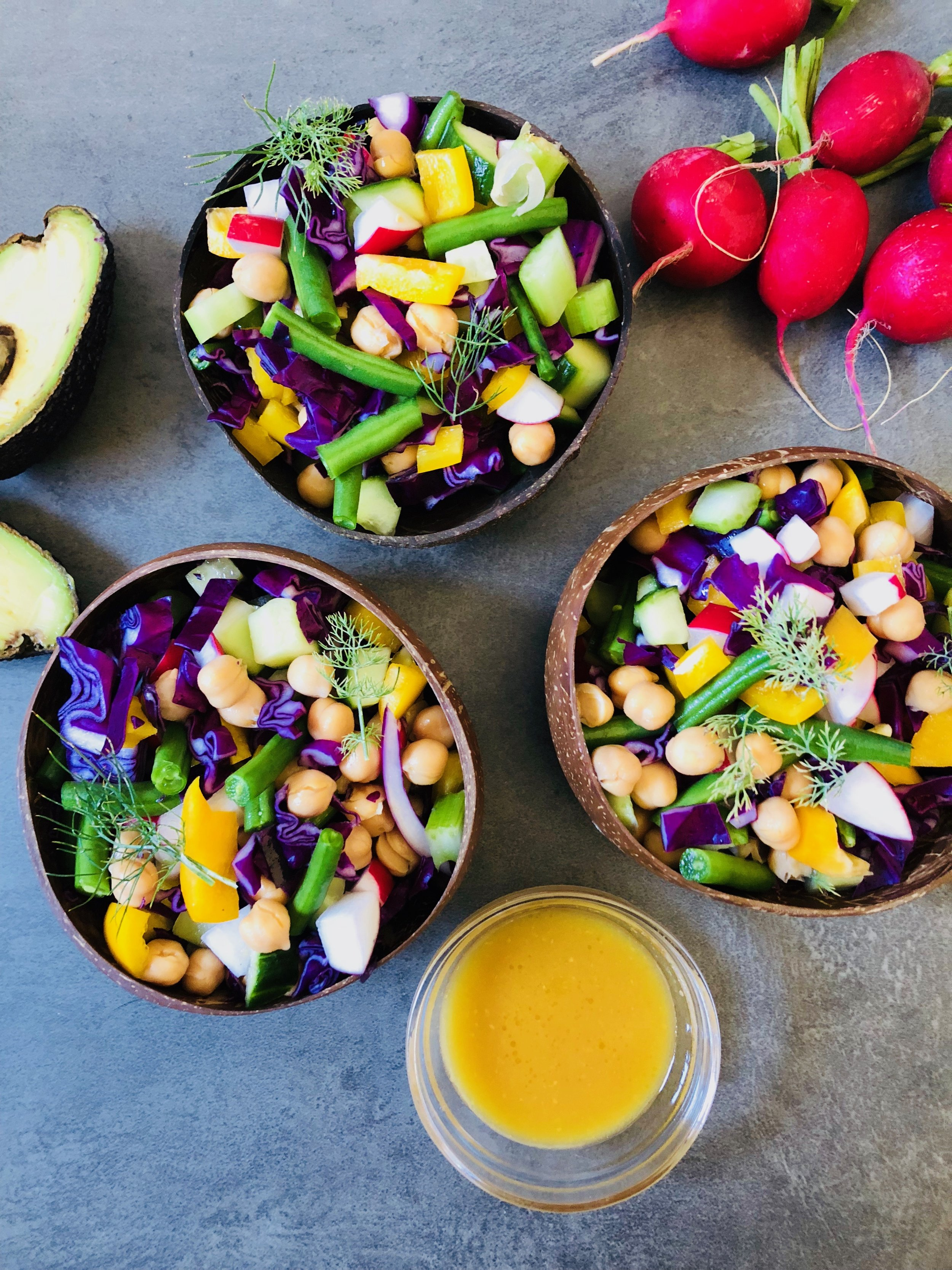 Colourful Confetti Chickpea Salad and Sliced Avocados