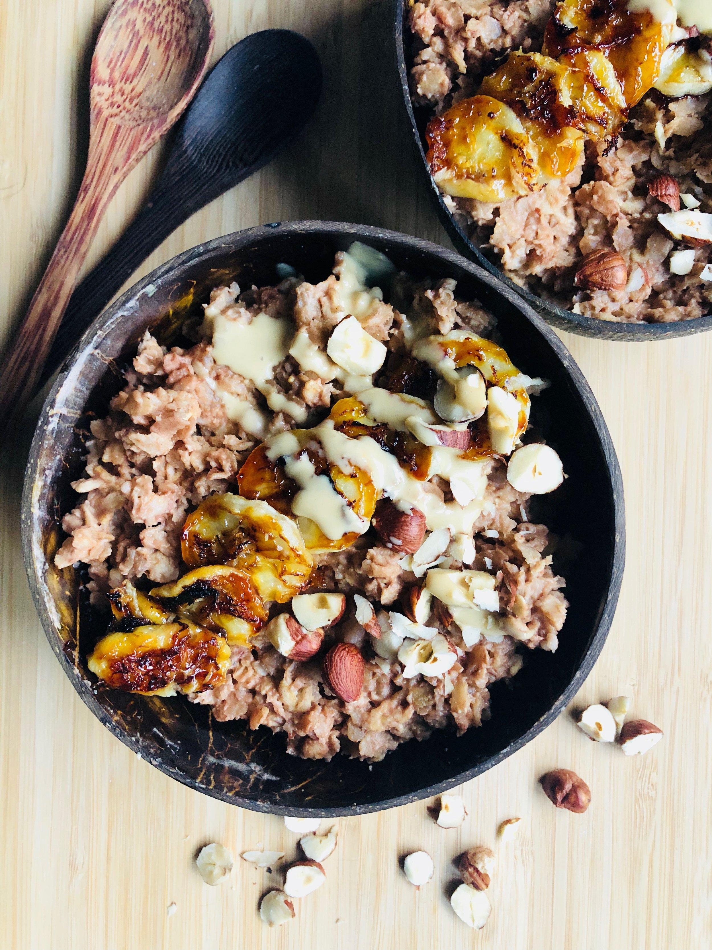 Choc-Hazelnut Porridge with Grilled Bananas