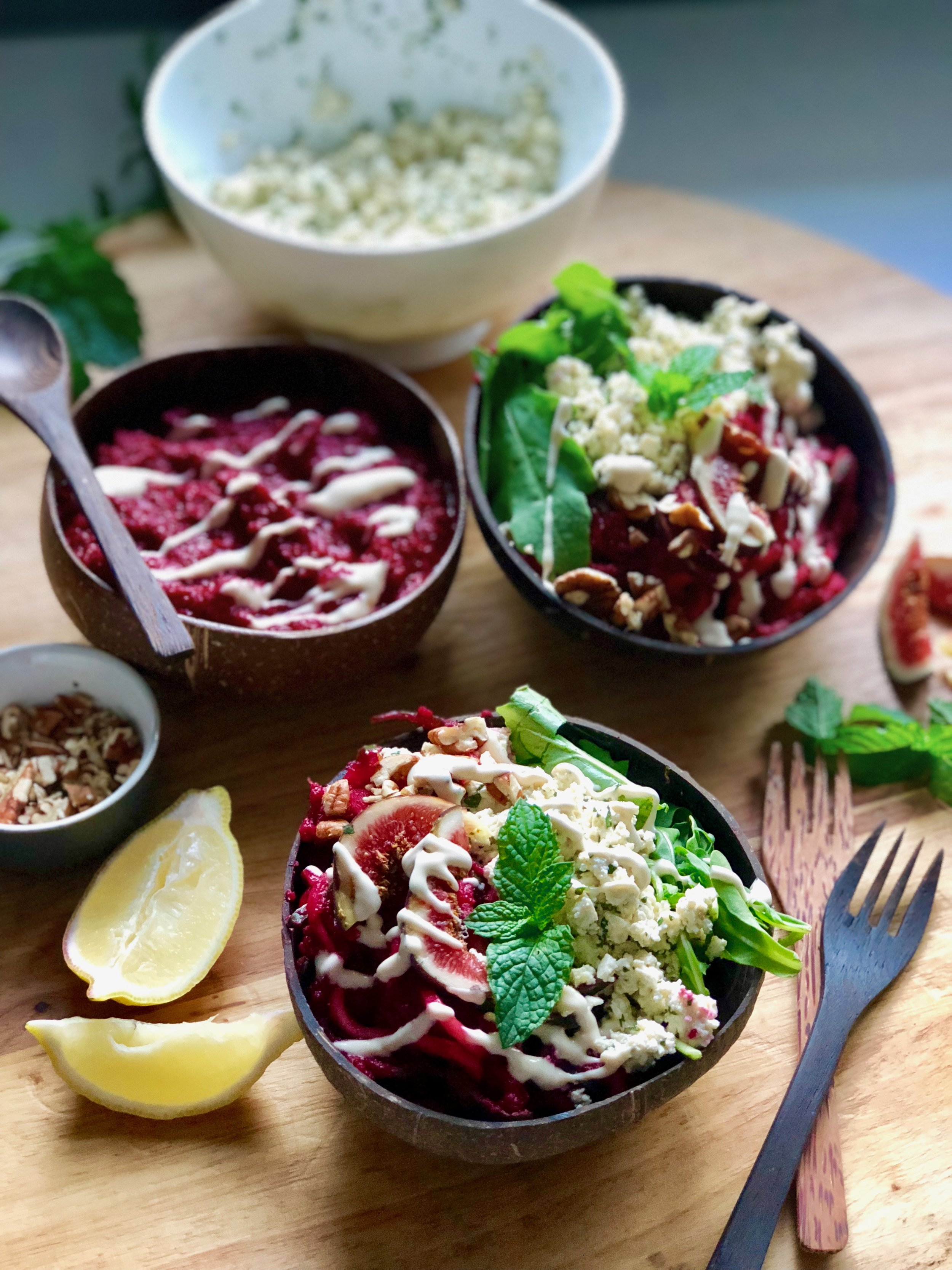 Red Beet Zoodles with Minty Crumbled 'Feta'