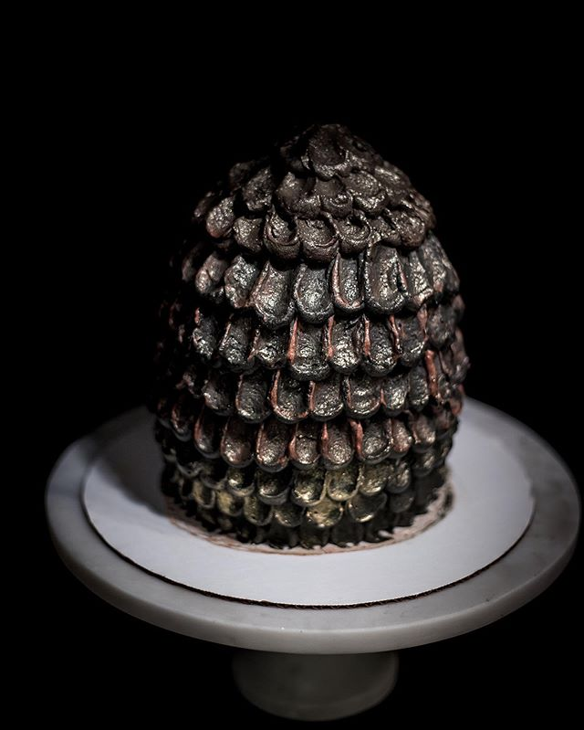 A very special cake for a momentous occasion—red velvet dragon egg for the #GameOfThrones finale! . . . . . #beardedbakerco #beardedbaker #redvelvet #cake #feedfeed #f52grams #hautecuisines #foodblogfeed #foodandwine #eeeeeats #buzzfeast #huffposttaste #fwx #tastingtable #gloobyfood #eaththeworld #eatmorecake #cupcakeproject #boostfy #dragon #egg #got #dragonscales
