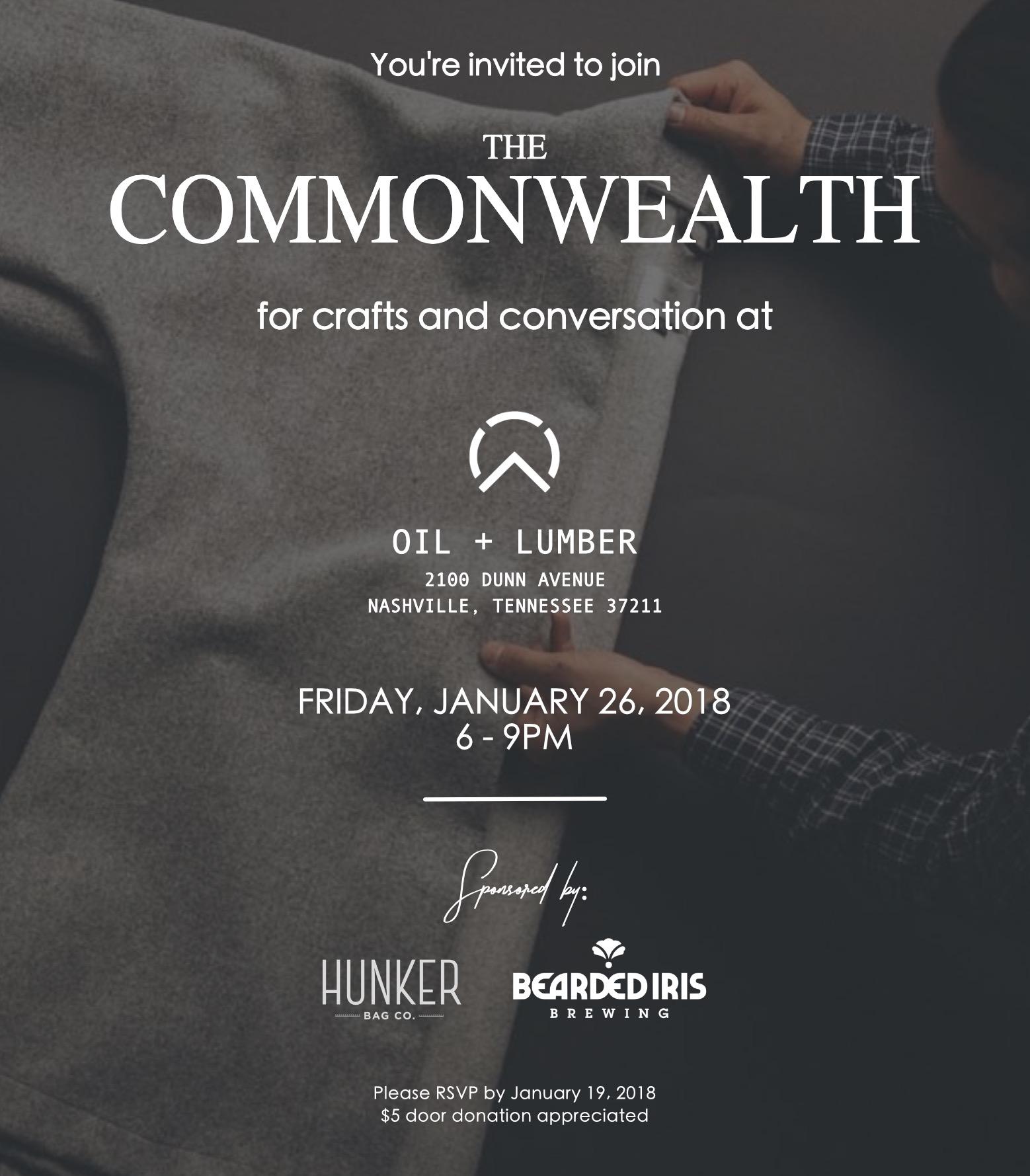 January 2018 - Oil + Lumber   Sponsored by Hunker Bag Co. & Bearded Iris Brewing