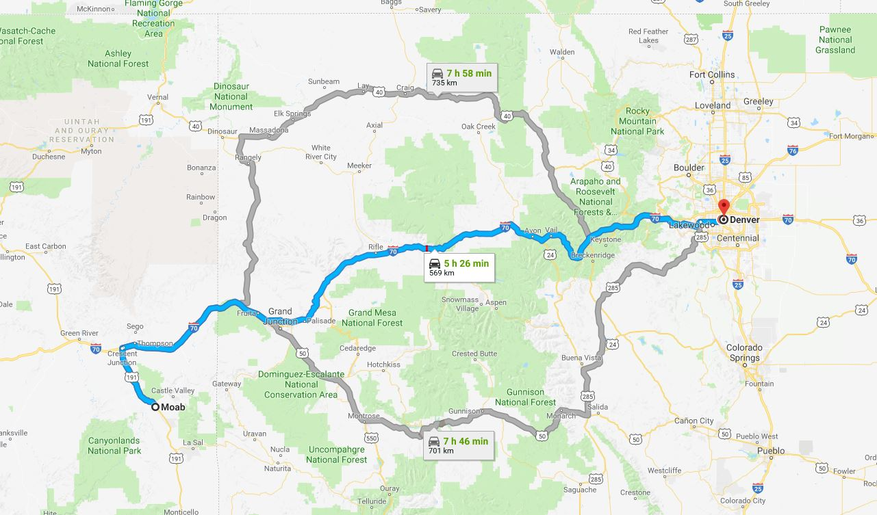 Moab to Denver five hours 30 minutes