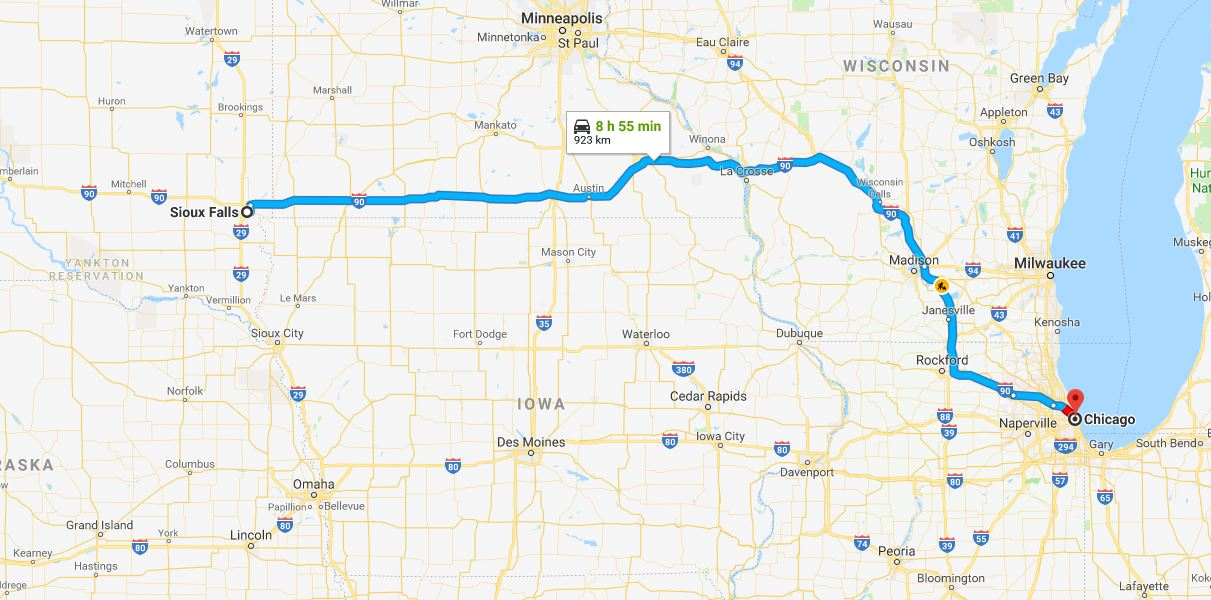 Sioux Falls to Chicago - about nine hours