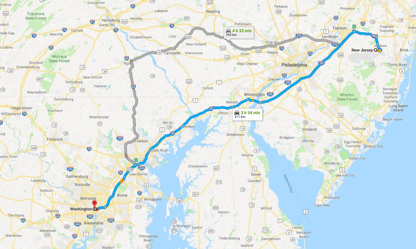New Jersey to Washington DC, another amazing drive - approximately three hours 40 minutes