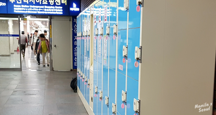 Lockers at the Busan Underground Shopping Center.