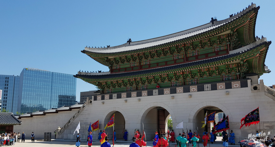 Royal Guard Changing Ceremony at Gyeongbokgung Palace.
