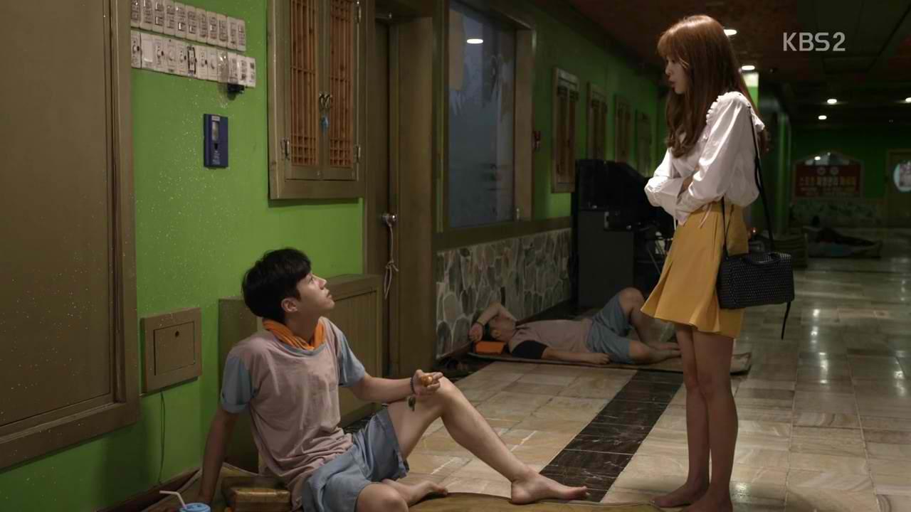 'Strongest Delivery Man's' Jin Gyu inside a jjimjilbang. Image credit:    Dramabeans
