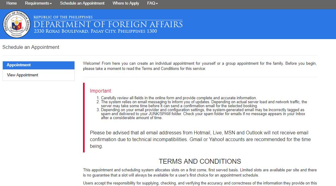 Screengrab from  passport.gov.ph