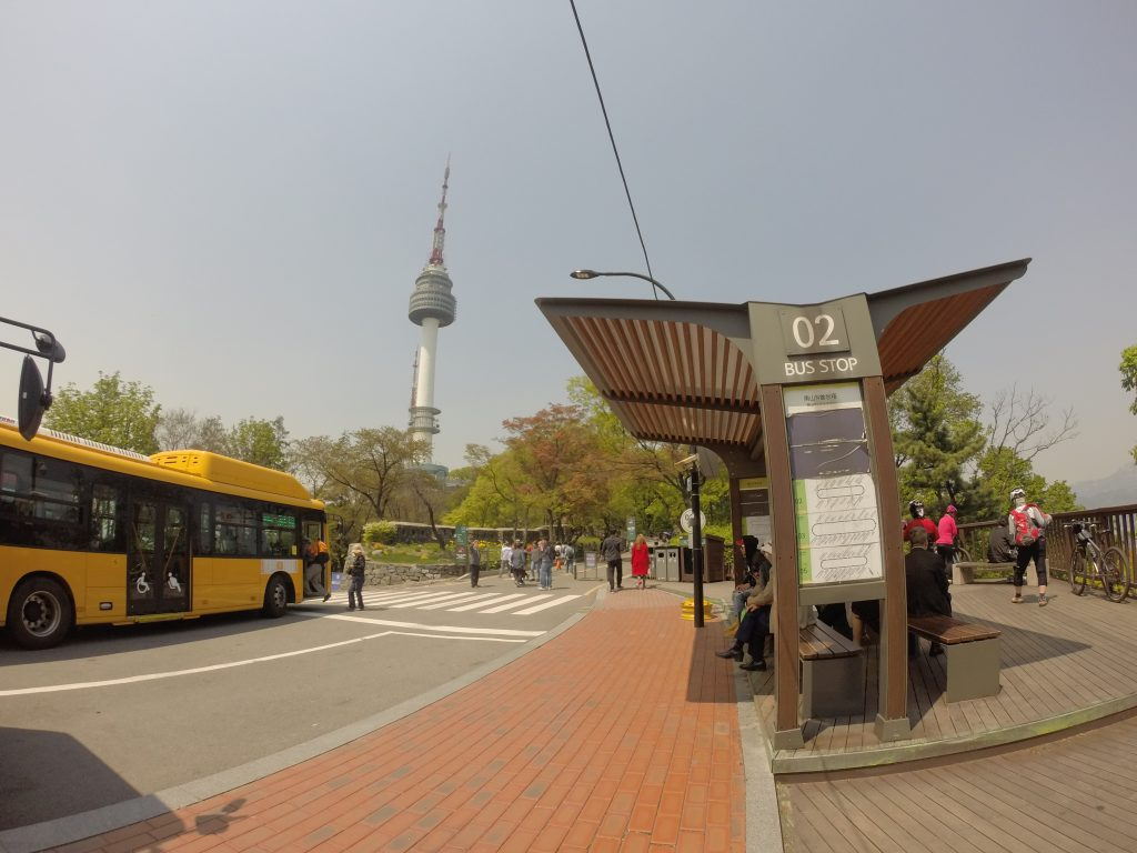 Bus stop for N Seoul Tower. Image credit:  Adventures with Little J