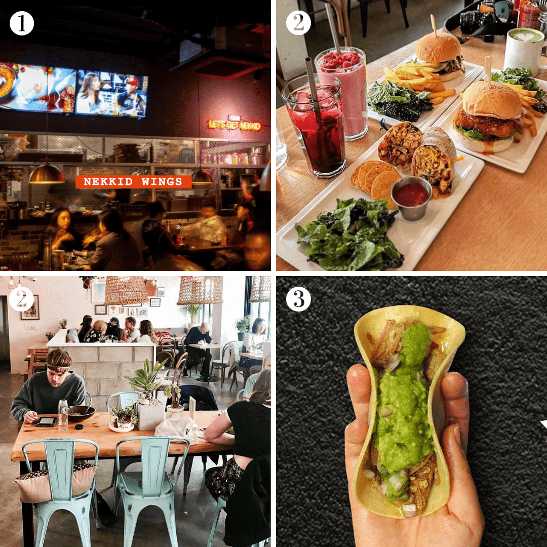 Things to do in Itaewon — restaurants that you may want to add in your Seoul travel bucket list! Image credit: (1)  Nekkid Wings ; (2-T)  PLANT Facebook Page ; (2-B)  PLANT Facebook Page ; (3)  Vatos Urban Tacos