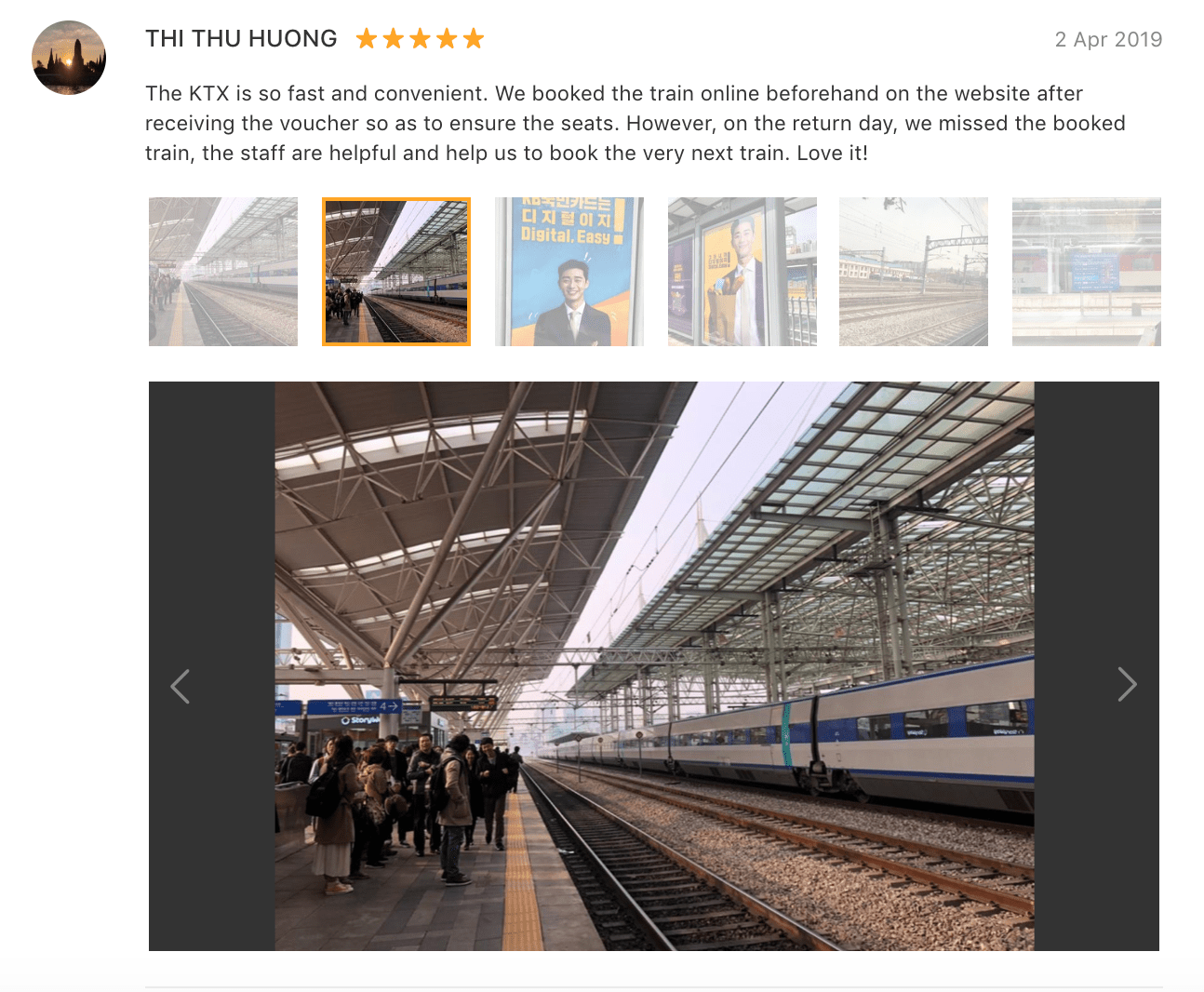 The KTX is so fast and convenient. We booked the train online beforehand on the website after receiving the [Klook] voucher so as to ensure the seats…Love it! -