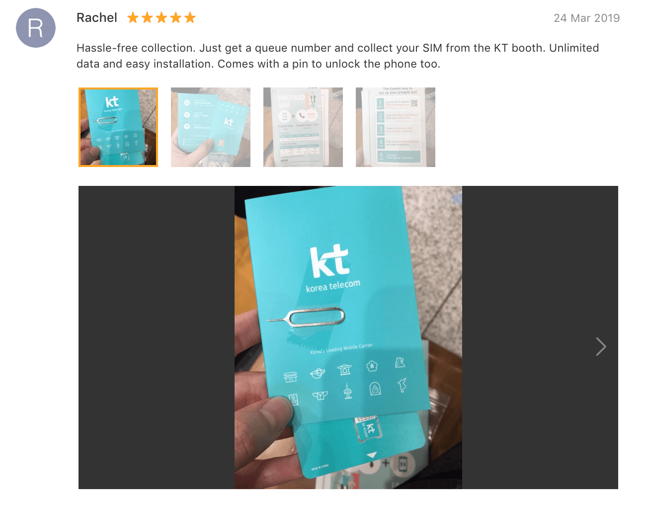 'Hassle-free collection. Just get a queue number and collect your SIM from the KT booth. Unlimited data and easy installation. Comes with a pin to unlock the phone too.' -
