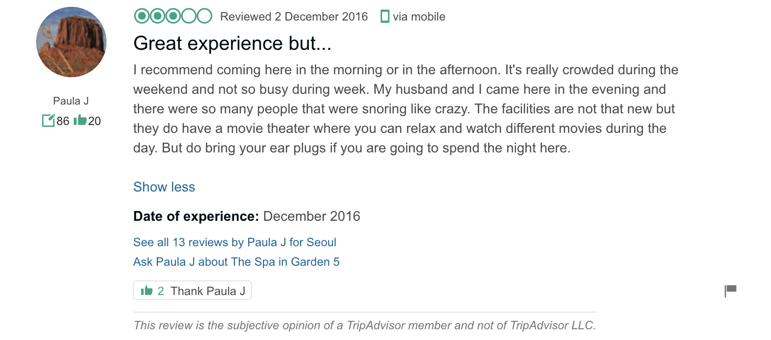 'I recommend coming here in the morning or…afternoon. It's really crowded during the weekend… The facilities are not that new but they do have a theater where you can relax and watch...movies…' - The Spa in Garden 5: Reviews from TripAdvisor