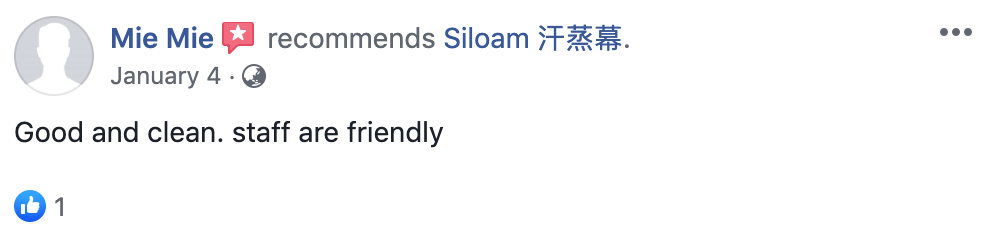 'Good and clean. staff are friendly' - Siloam Spa Review from Facebook