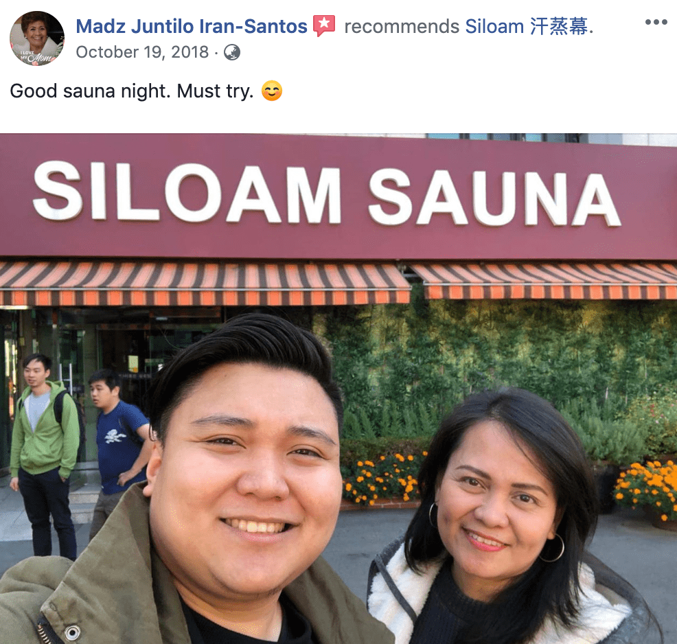 'Good sauna night. Must try. ☺' - Siloam Spa Review from Facebook