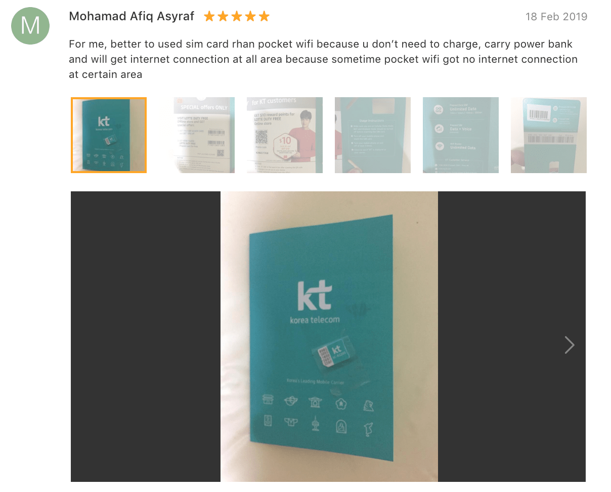'For me, better to use sim card than pocket wifi because [you] don't need to charge, carry power bank… [Sometimes] pocket wifi got no internet connection at certain area…' - KT Olleh SIM card for Korea Review
