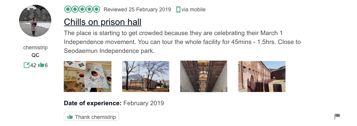 'Chills on prison hall… You can tour the whole facility for 45mins - 1.5hrs. Close to Seodaemun Independence park.' - Seodaemun Prison History Museum tour review from TripAdvisor