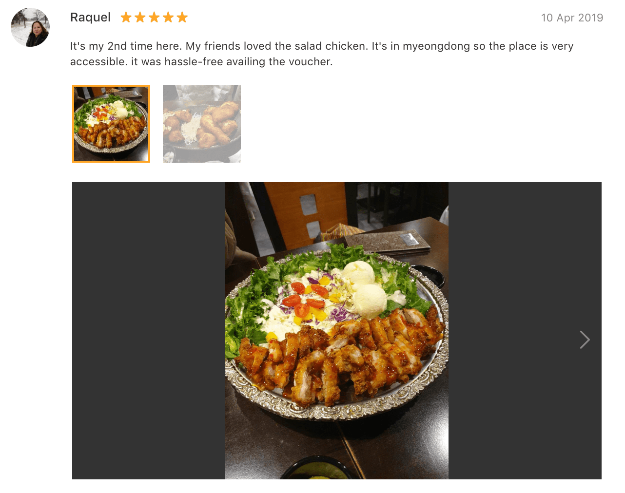 'It's my 2nd time here. My friends loved the salad chicken. It's in myeongdong so the place is very accessible. It was hassle-free availing the voucher.' - Review: Oppa Dak Korean Fried Chicken Restaurant in Myeongdong