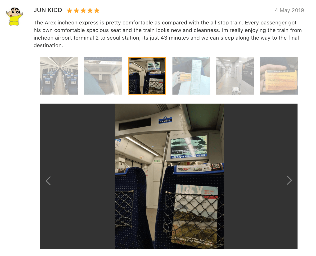 'The Arex incheon express is pretty comfortable as compared with the all stop train. Every passenger got his own comfortable spacious seat and the train looks new…' - AREX Incheon to Seoul Train Ticket (One-way) Review: Klook