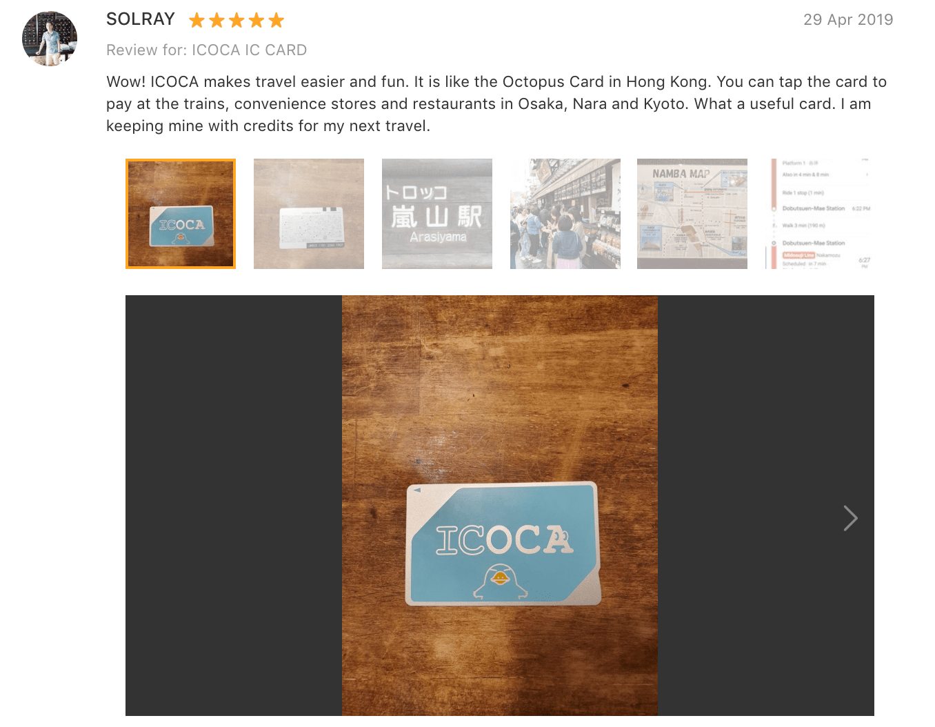 'Wow! ICOCA makes travel easier and fun. It is like the Octopus Card in Hong Kong. You can tap the card to pay at the trains, convenience stores and restaurants in Osaka, Nara and Kyoto. What a useful card. I am keeping mine with credits for my next travel.' - ICOCA card Klook Review