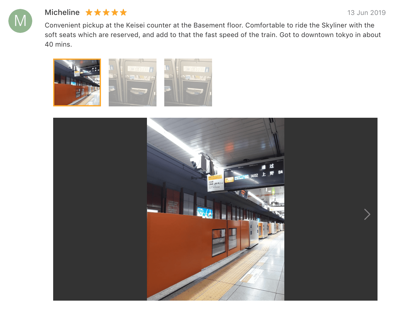 'Convenient pick-up at the Keisei counter at the Basement floor. Comfortable to ride the Skyliner with the soft seats which are reserved, and add to that the fast speed of the train. Got to downtown tokyo in about 40 mins.' - Suica card Tokyo, Japan: Klook Review