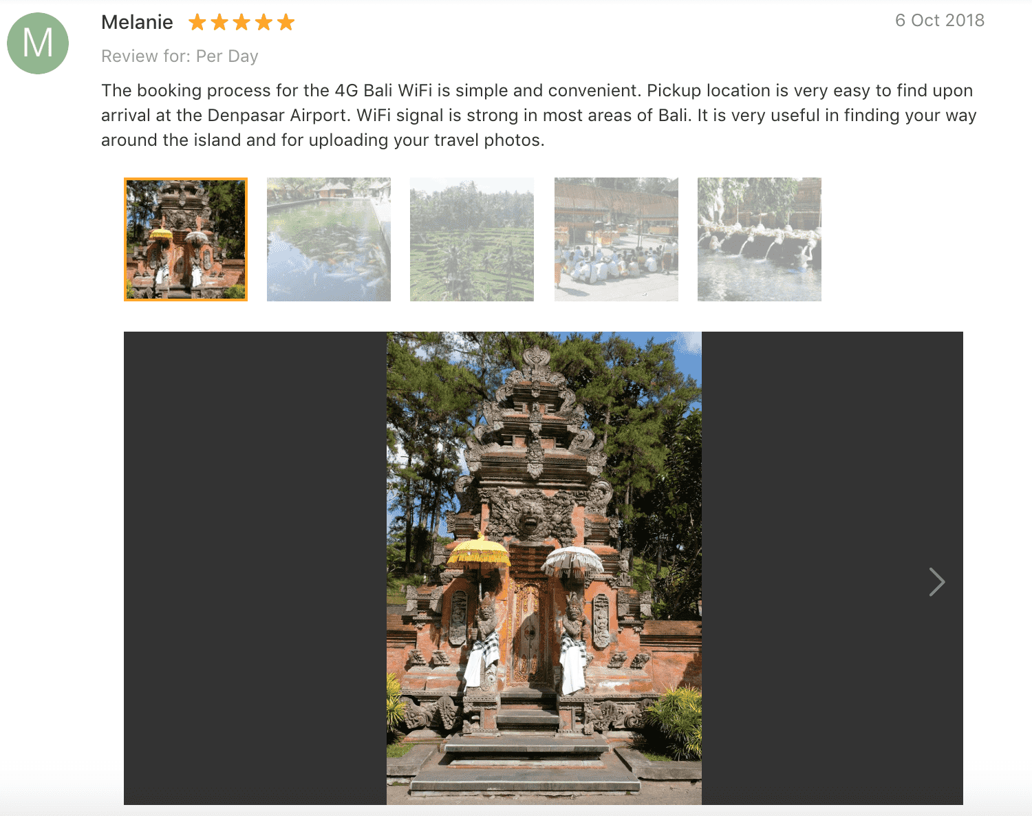 'The booking process for the 4G Bali WiFi is simple and convenient. Pickup location is very easy to find upon arrival at the Denpasar Airport. WiFi signal is strong in most areas of Bali. It is very useful in finding your way around the island and for uploading your travel photos.' - Bali Pocket Wifi Klook: Review