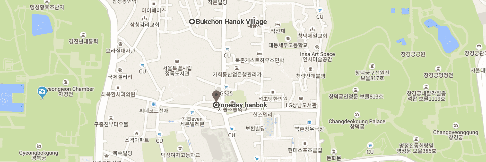 Location of  Oneday Hanbok  rental in Seoul. Screenshot from Google Maps
