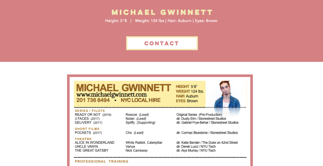 www.michaelgwinnett.com - resume page (new)