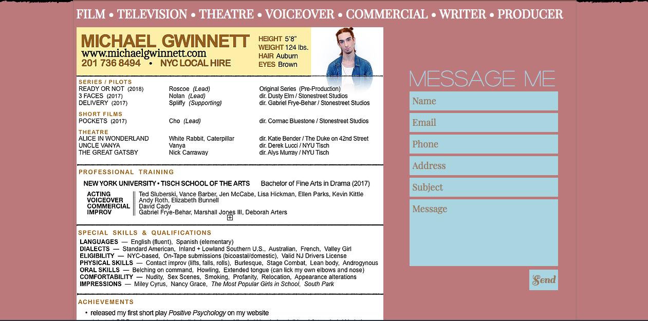 www.michaelgwinnett.com - resume page (old)