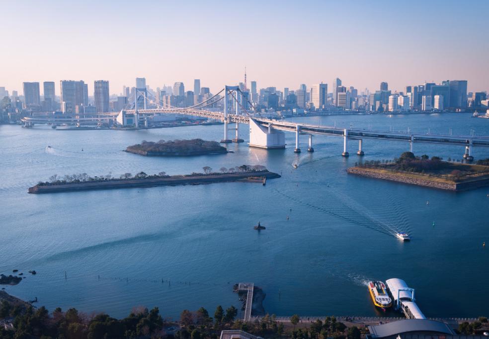 Odaiba beach and city
