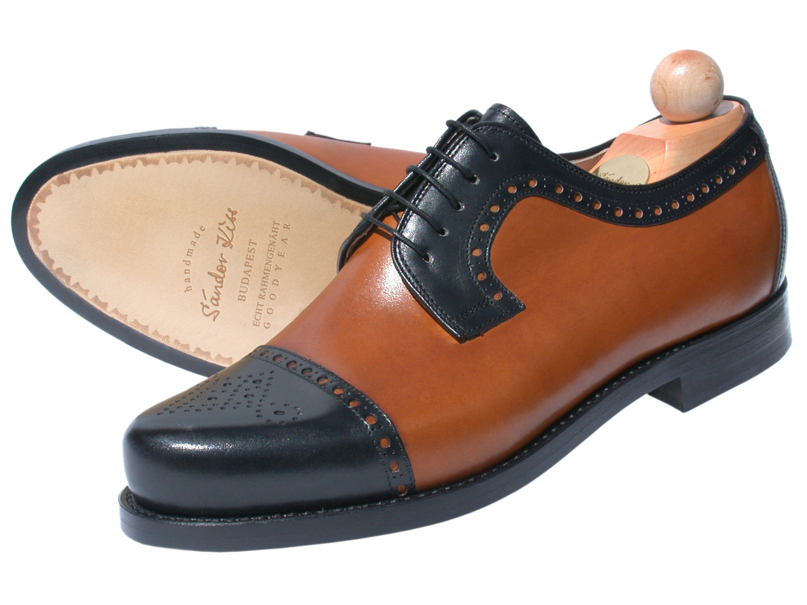 Semi-Brogue Boxcalf schwarz/cognac