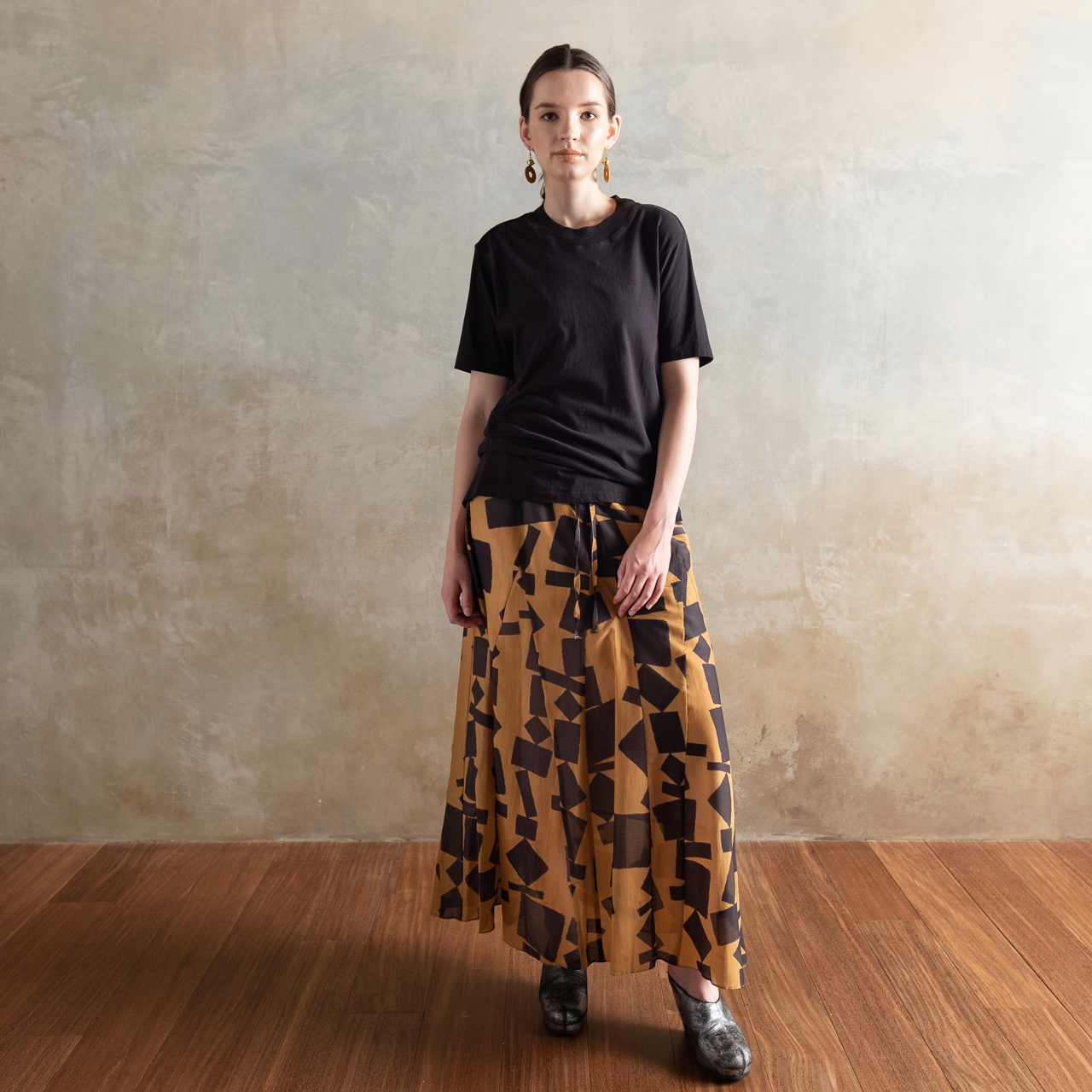 Silk Cotton drawstring long skirt