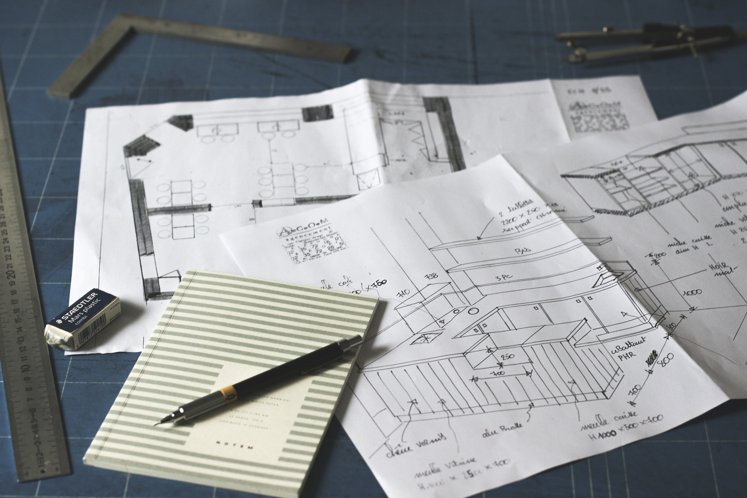 Conception des plans avec l'architecte.