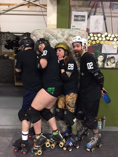 Zzzzzzzzz. - On April 14, Rad skated with our VMRD friends Stylizer, Backbreaker Bane and Pussy Venom in Pioneer Valley's United Front v. The World bout down in Western Massachusetts where they took a pretty adorable photo with one of the protective wall mattresses.
