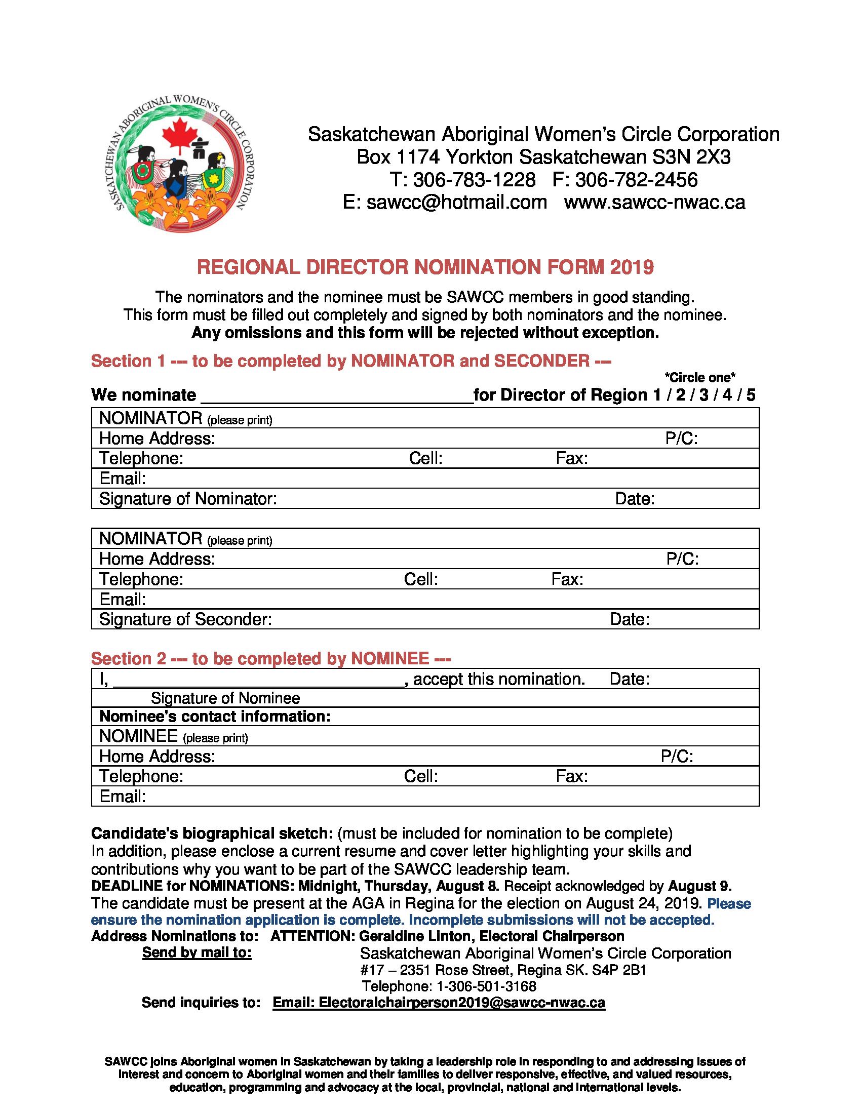 Regional Director Nomination Form -