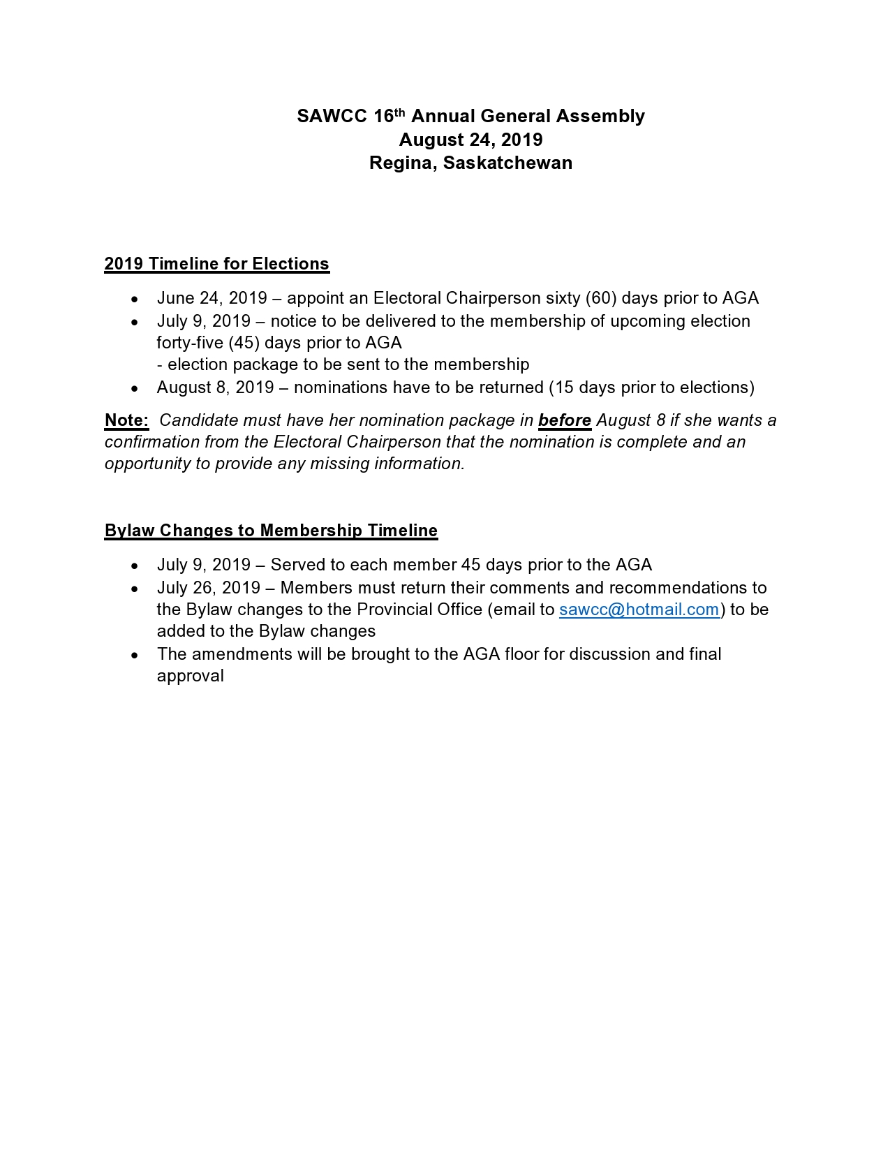 2019 SAWCC Timeline for Elections -