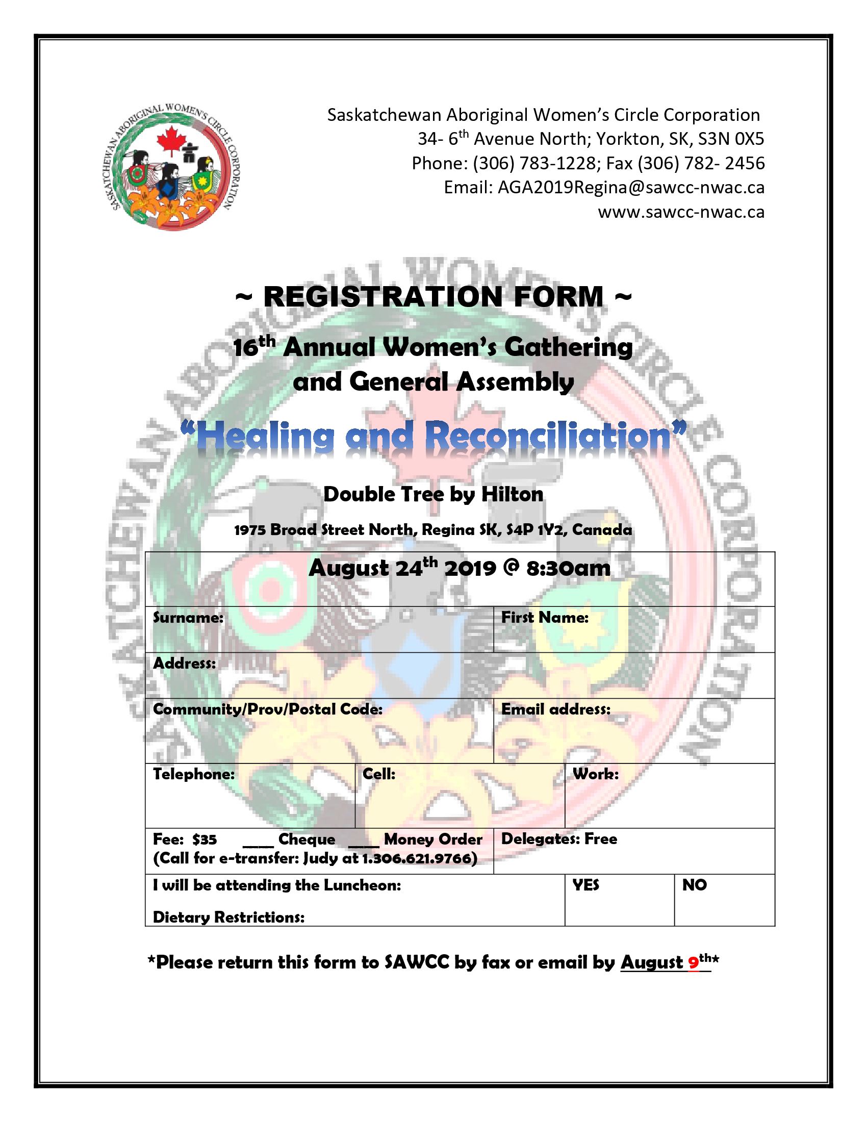 2019 Annual General Assembly Registration Form -