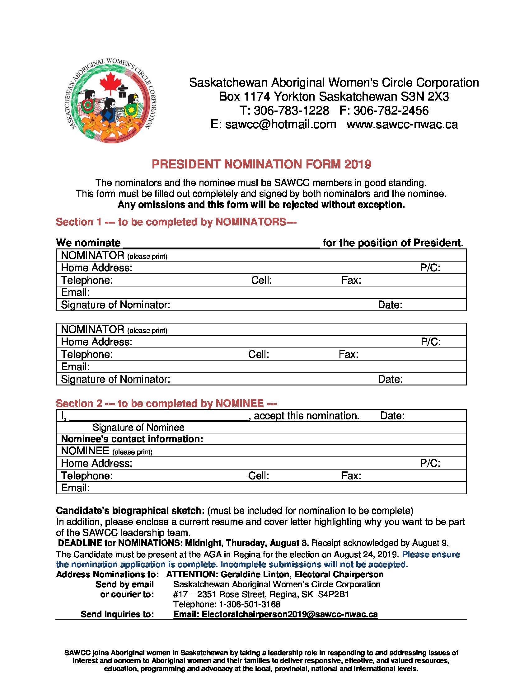President Nomination Form -