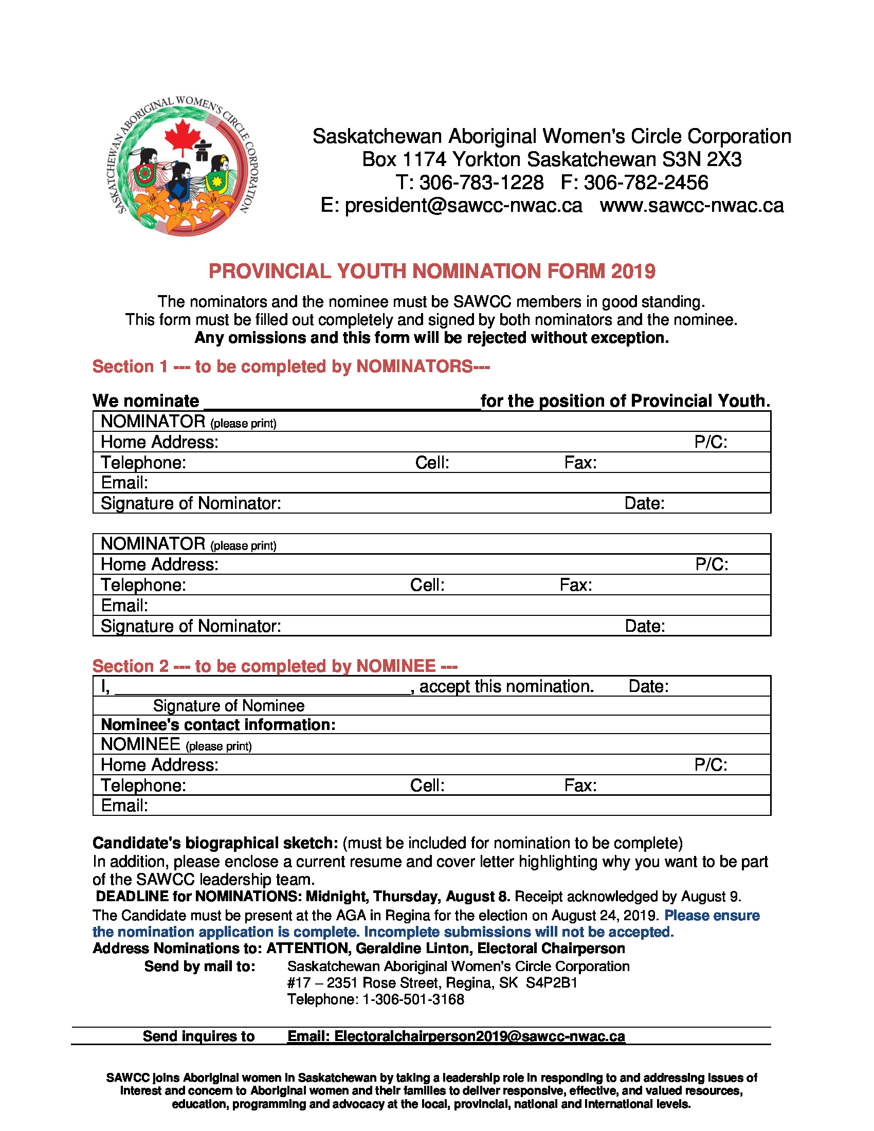 Provincial Youth Nomination Form -