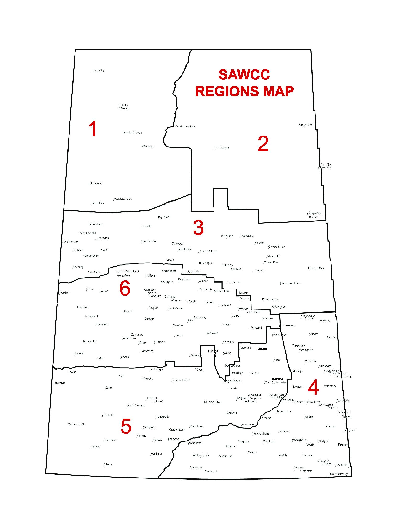 2019 SAWCC Regions Map -