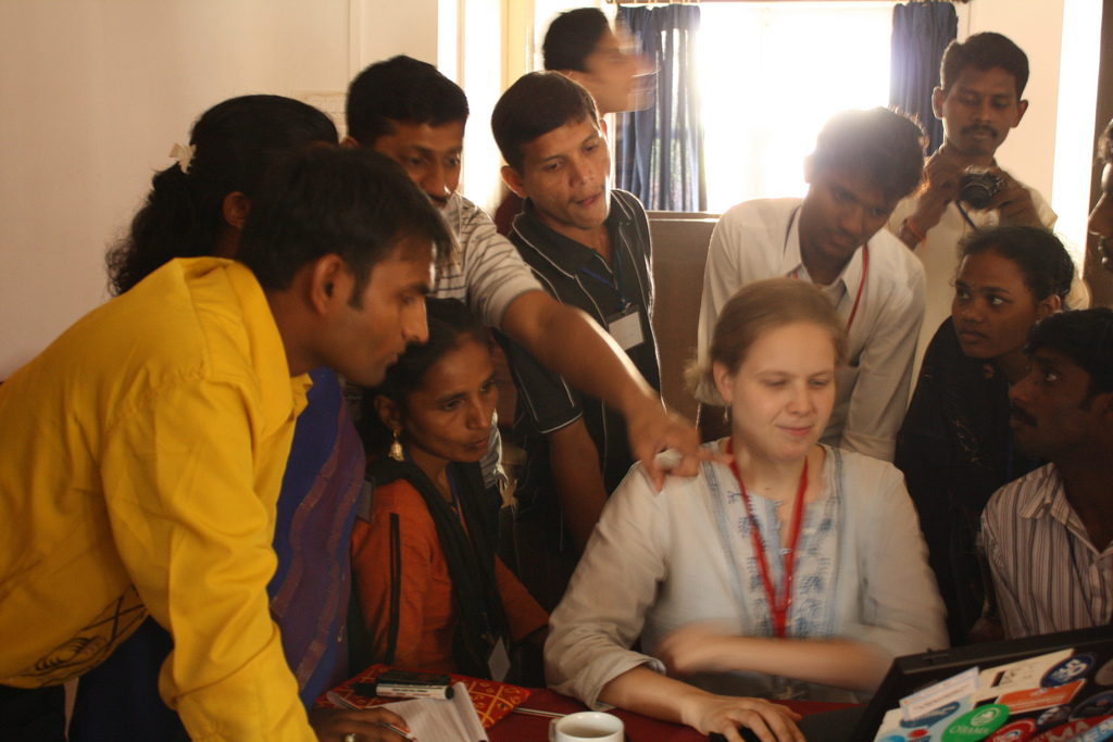 Leading a video activism workshop in India (Candolim, 2009)