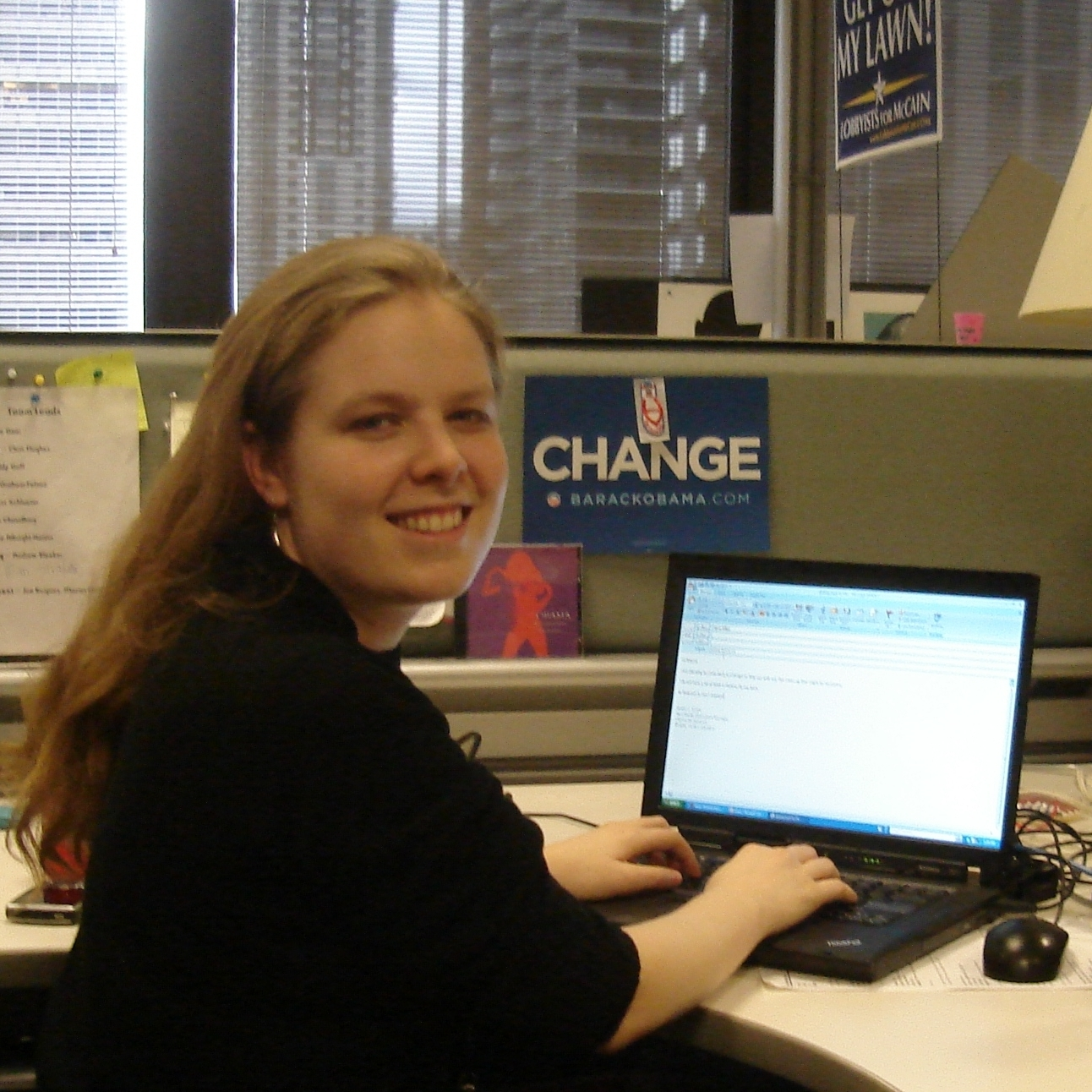 At Obama campaign HQ typing email as New Media Operations Manager (Chicago, 2008)